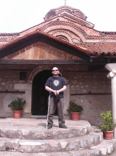 Tony outside St. Bogorodica Perivleptos church.