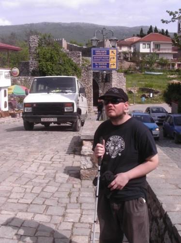 Tony on a road near the city wall's Upper gate. Heading towards King Samoil Fortress.