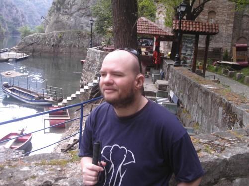 Tony, edge of Lake Matka.