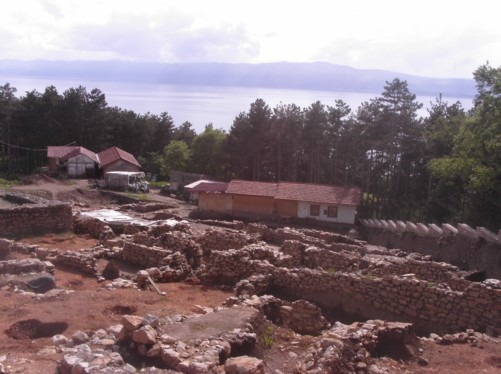 View of Plaosnik Archeological site with Lake Ohrid in the distance.