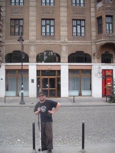 Tony outside the Hotel Bristol.