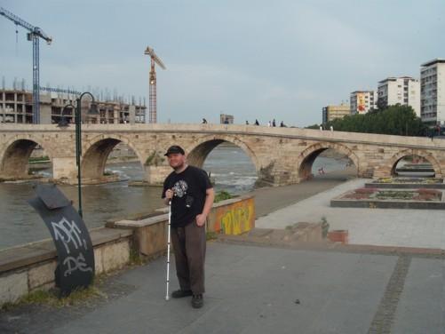 Tony and a view of the Stone Bridge (Kameni Most).