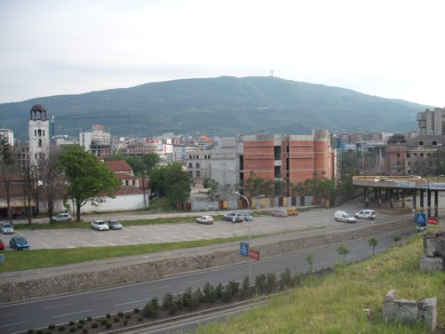 A duel-carriageway that cuts along the edge of Skopje's old town.