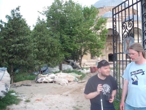 Tony and Hayo outside Mustafa Pasha Mosque.