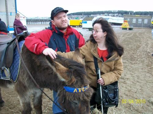 Tony, Tatiana and donkey, Weston-super-Mare beach, 2nd April 2010.