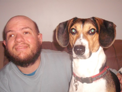 Tony and a beagle named Sargent Pepper.