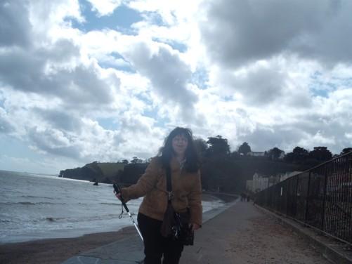 Tatiana, railway line, Dawlish seafront.
