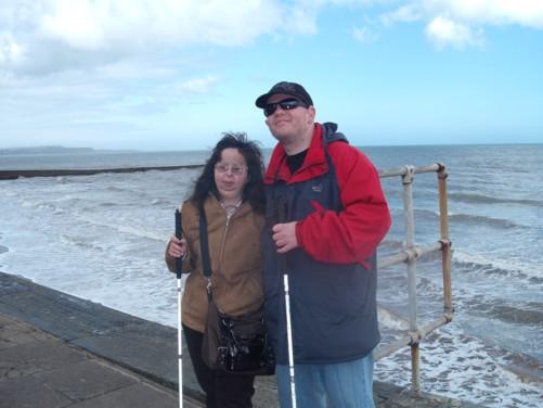 Tatiana and Tony, sea wall, Dawlish.
