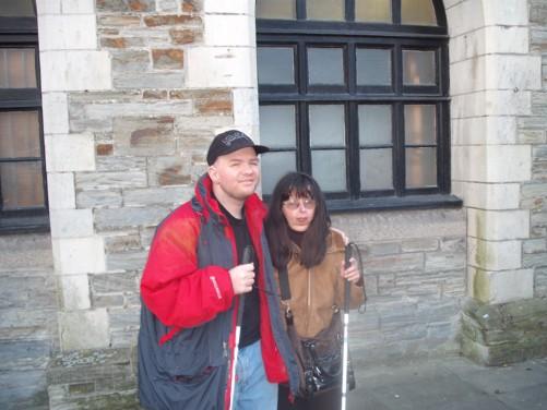 Tony and Tatiana outside the town hall.