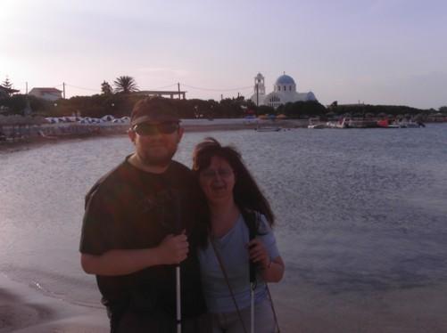 Nice view across Skala Beach. Tatiana and Tony in the foreground.