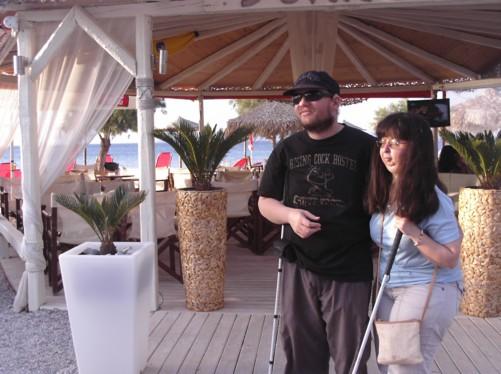 Tony and Tatiana outside a café on Skala seafront.