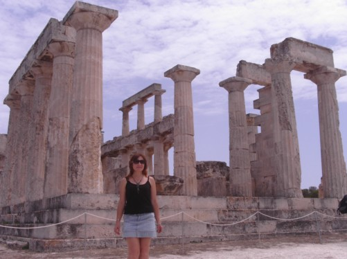 Elena in front of the stone columns of Athia Temple.