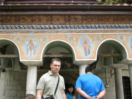 Building with elaborately painted exterior, part of the inner courtyard of the monastery.