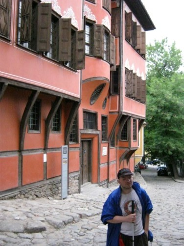Tony outside a grand 19th century house, old town Plovdiv.