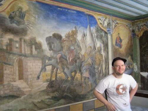 Tony inside the Church of Sveti Konstantin and Elena.