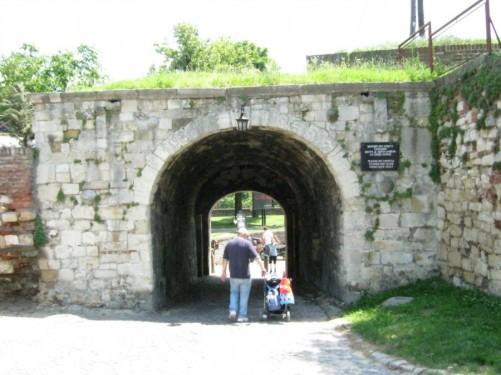 Walkway tunnel through a defensive wall at Kalemegdan Fortress.