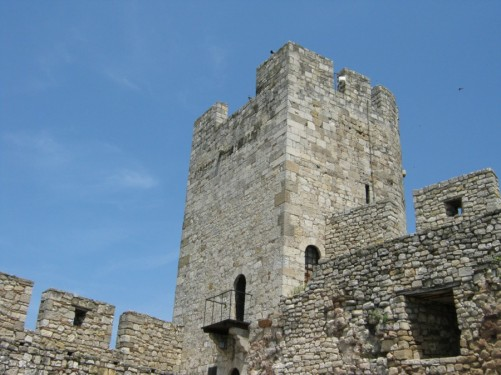 Stone tower and wall, part of Kalemegdan Fortress.