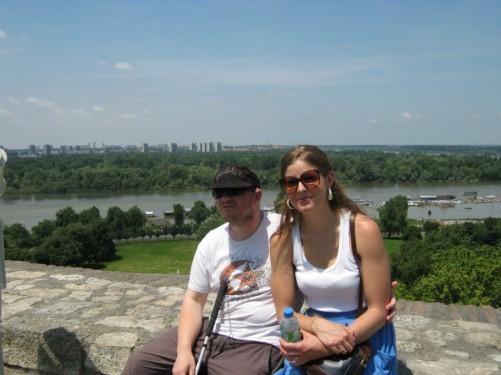 Tony and friend at Kalemegdan park overlooking the Sava river.