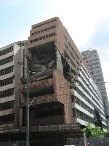 Bombed Yugoslav Ministry of Defense building.