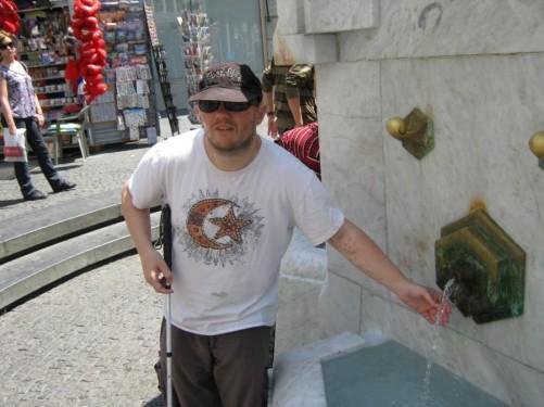 Tony by drinking fountain.