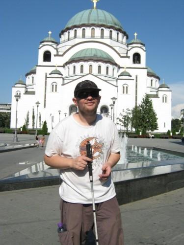 Tony with St. Sava Temple behind him.