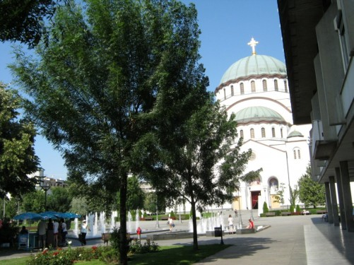 St. Sava Temple from the park.