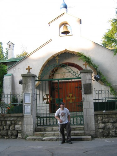 Tony outside the small Russian Orthodox church of the Holy Trinity, built in 1924.