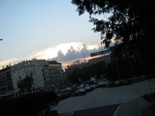 View of central Belgrade, near the Parliament.