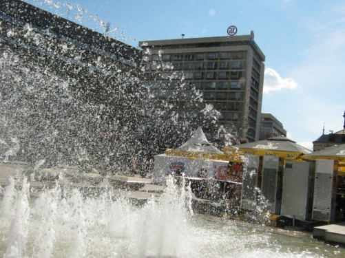 Large fountain in the main square.