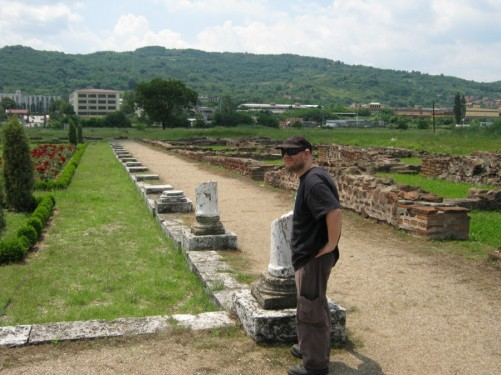 Tony by the remains of a row of marble columns at Mediana.