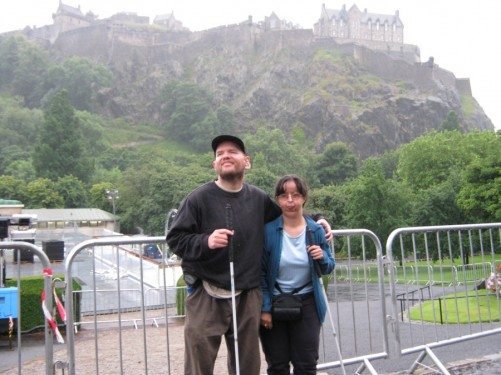 Tony & Tatiana with Edinburgh Castle in the background. Picture taken on Castle Hill at the top of the Royal Mile