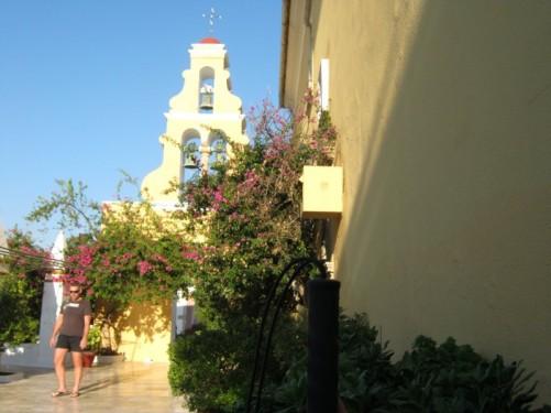 Paleokastritsa Monastery courtyard.