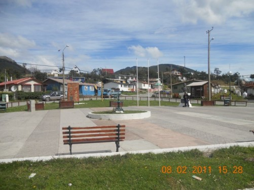 Square in the centre of Puerto Williams (Plaza O'Higgins).