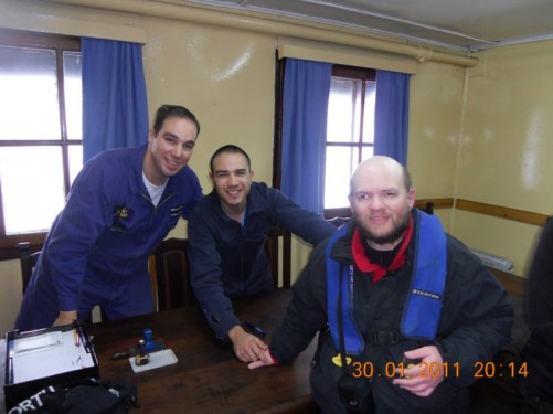 Tony with two of the Argentine scientists from the Cámara Scientific Station.