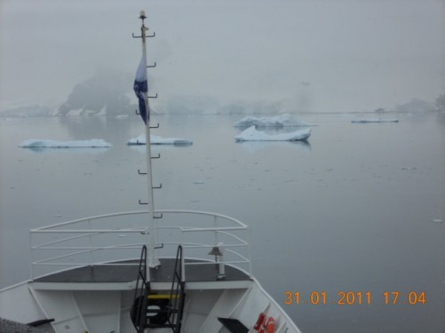 View from the very front of the ship: Icebergs and the land of the Antarctic continent beyond.