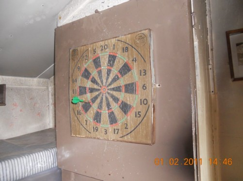 Old dart board. Wordie House.