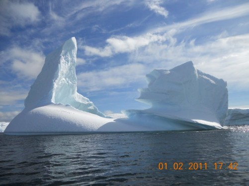 Another view of the ice pinnacle as well as other wonderful shapes weathered into the ice.