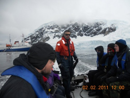 Tony and fellow passengers in the Zodiac heading to Neko Harbour.