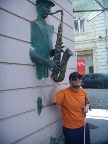 Statue of a man playing the saxophone. Another modern artwork on Rustaveli Avenue.