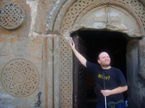 Tony in another doorway at Tsminda Sameba Church.