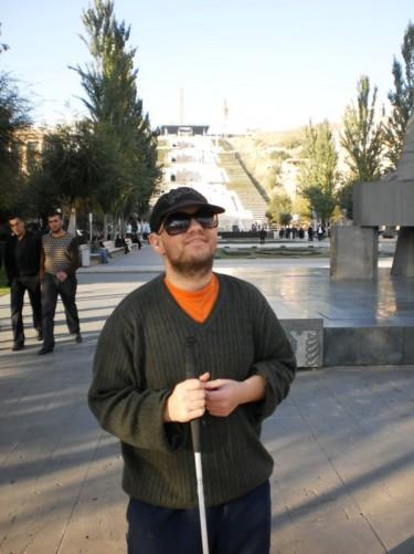 Tony at the bottom of The Cascade, central Yerevan.