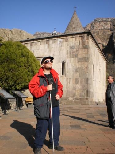 Tony outside Gighart Monastery church.