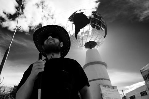 Tony in front of globe, Tupiza.