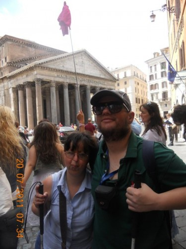 Tony and Tatiana with a view of the Pantheon façade behind them.