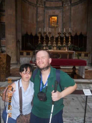 Tony and Tatiana in front of the altar.