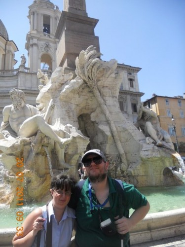 Tatiana and Tony in front of the Fountain of the Four Rivers.