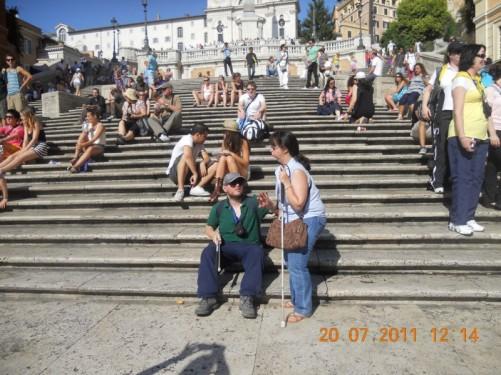 Tony and Tatiana at the foot of the Spanish Steps.