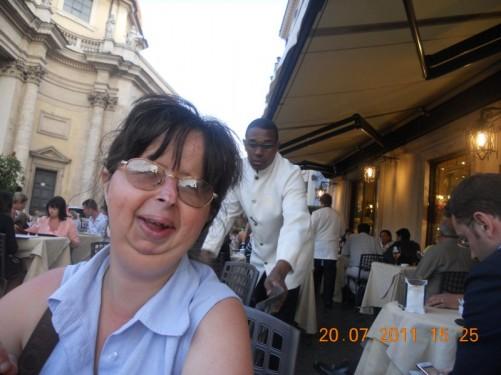Tatiana. At a restaurant in Piazza del Popolo.