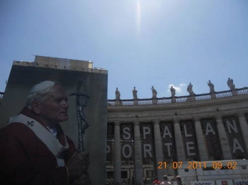 Large poster of the late pope John Paul II (1920-2005) in St. Peter's Square.