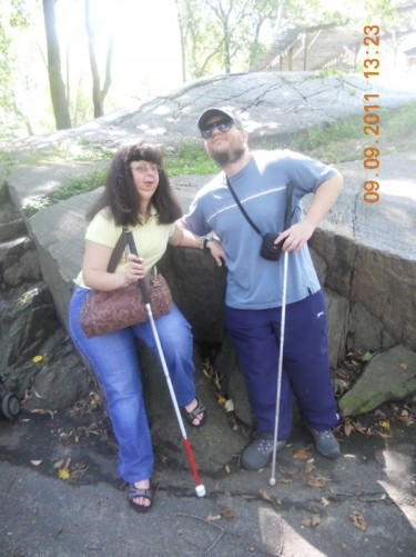 Tony, Tatiana on a rock wall on a trail in Central Park. Just one of many trails and walkways in the huge park.